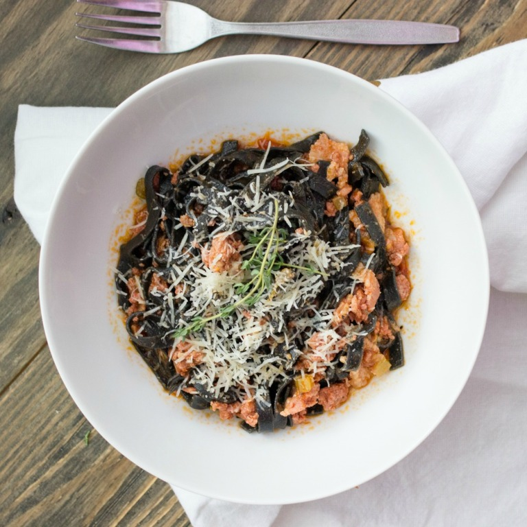 Squid Ink Fettuccine Bolognese